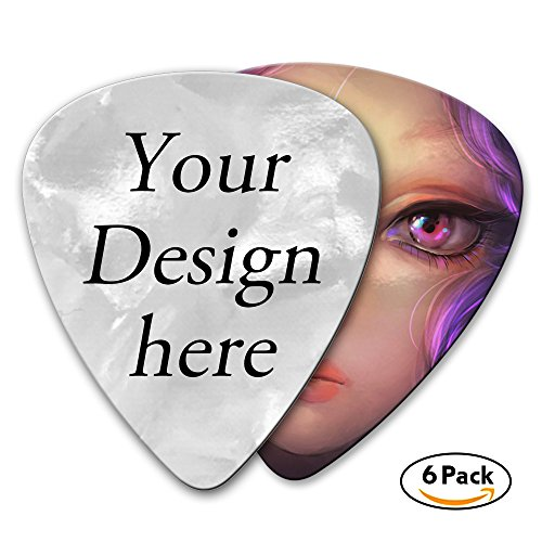 Custom Printed Guitar Picks - Design Your Logo or Picture - 6 Pack 0.46mm (Celluloid) -