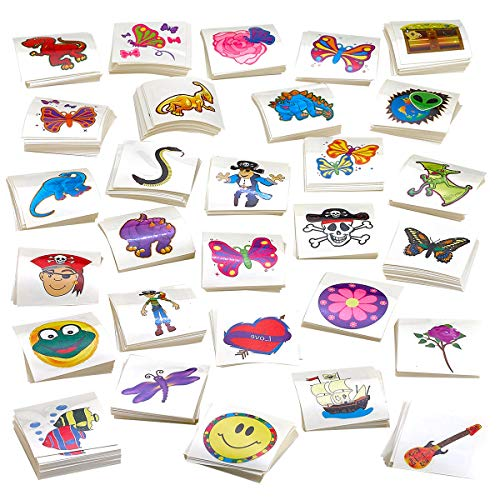 Kicko Tattoo Assortment - 720 PC Colorful Tattoos - Temporary Tattoos Assortment - Includes Dinosaur, Pirates, Animals, Flowers and etc. - Kids Party Favors -