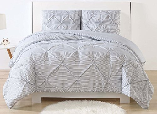 Laura Hart Kids Printed Stripe Pinch Pleat Kids Comforter Set, Full/Queen, Grey Stripes