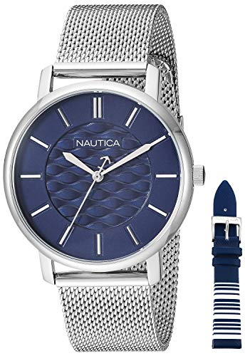 Nautica Women's Coral Gables Japanese-Quartz Watch with Stainless-Steel Strap, Silver, 18.1 (Model: - Interchangeable Set Watch Nautica