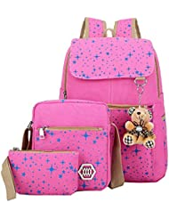 KiwiTwo Girls Canvas Backpack 3 Set Patterned Bookbag Laptop School Backpack