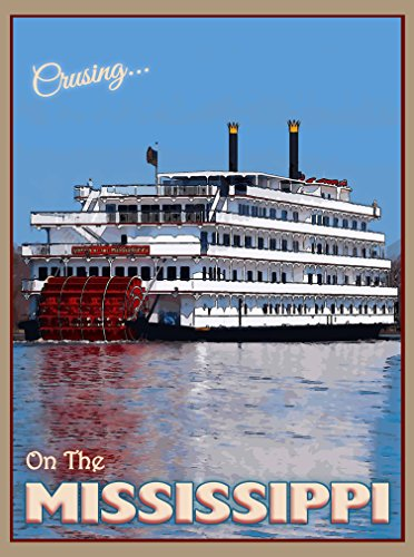A SLICE IN TIME Cruising the Mississippi River Riverboat Mississippi Queen United States America Travel Art Poster Advertisement - Mississippi Queen Riverboat