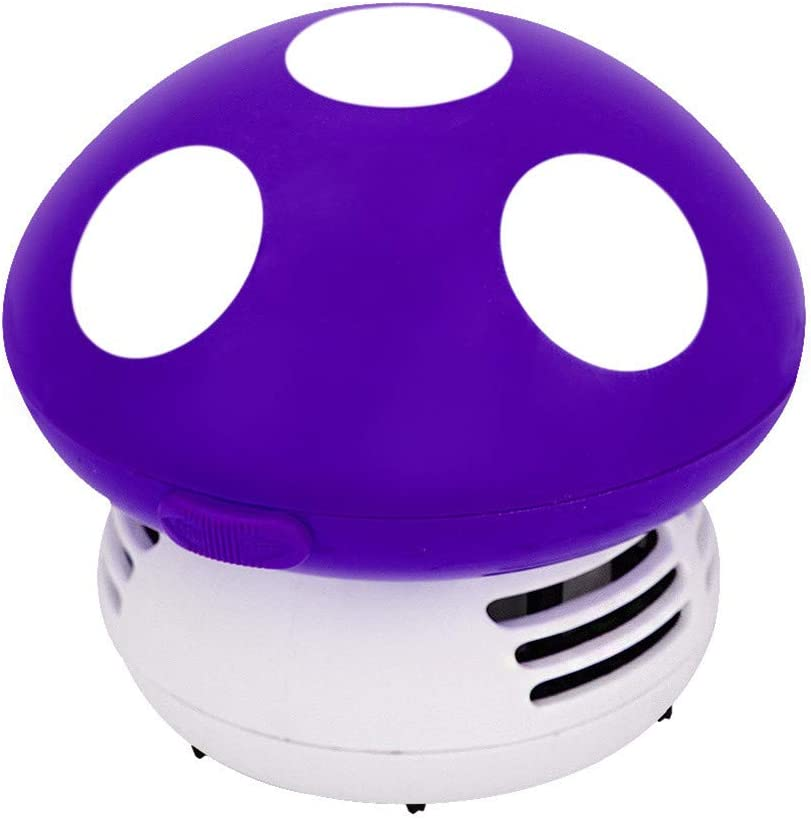 Small Vacuum Cleaner Creative Desktop Vacuum Cleaner Cartoon Mushroom Mini Keyboard Dust Collector (Purple)