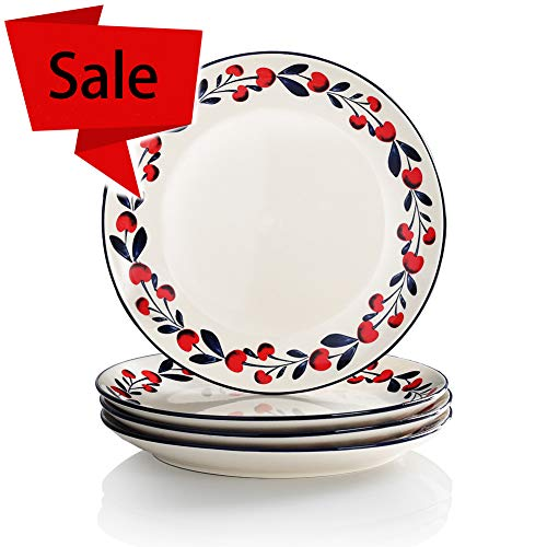 Sweejar Porcelain 10-1/2-Inch Dinner Plate for Dessert and Snack, Plaid hand-painted cherries - Set of 4, White