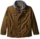 Levi's Men's Big-Tall Washed Cotton 4 Pocket Hoody Jacket with Sherpa Lining, Khaki, 2X