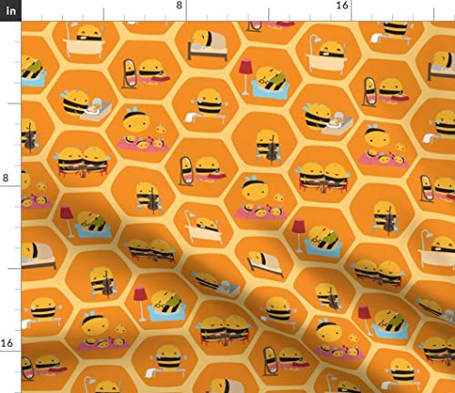 Spoonflower Honey Comb Fabric - Honey Bee Bee Bumble Hive Honeycomb Dwellings Organic Kni by Ceciliamok Printed on Linen Cotton Canvas Ultra Fabric by The Yard