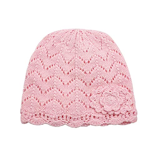 LLmoway Kids Beanie Toddler Girl Knit Hat Soft Warm Cotton Crochet Skull Cap, Pink, 2-Ply, 4T-6T