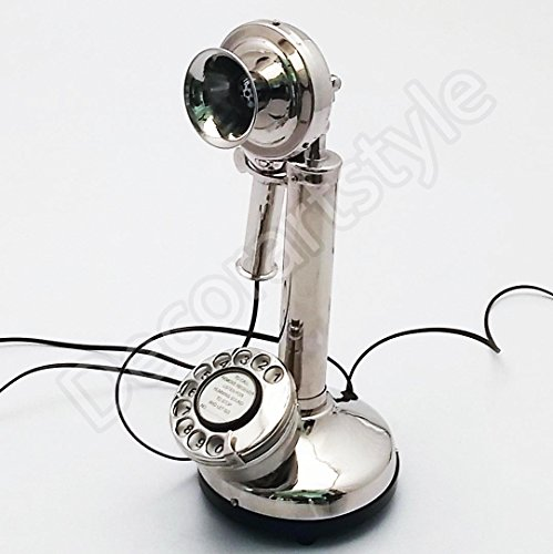 Decorative Royal Antique Reproduction Candle stick Nickel Plated Working Telephone ()