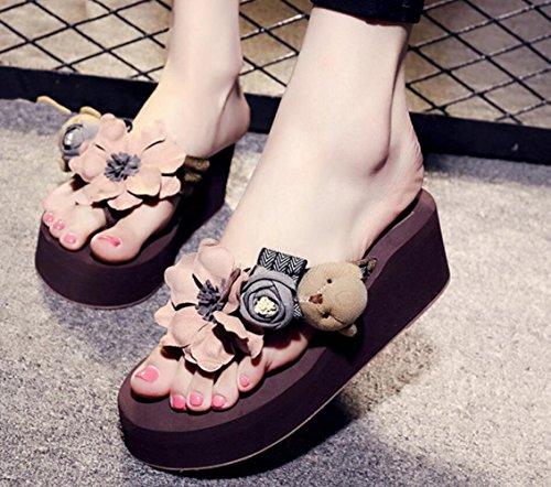 Zapatillas Brown De del Nuevas CHENGXIAOXUAN De Zapatillas Pequeños Sandalias De Verano Altura Zapatos Mujer Sandalias Zapatillas EN 5cm Suela Frescas 5 Gruesa Tacón xwBqFX