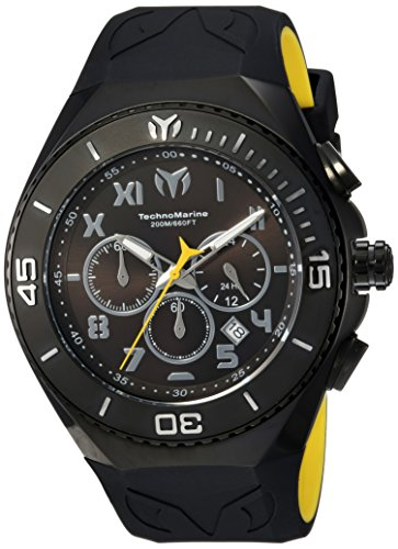 (Technomarine Men's Manta Stainless Steel Quartz Watch with Silicone Strap, Black, 31 (Model:)