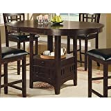 High Kitchen Table Coaster Counter Height Dining Table Extension Leaf Dark Cappuccino Finish