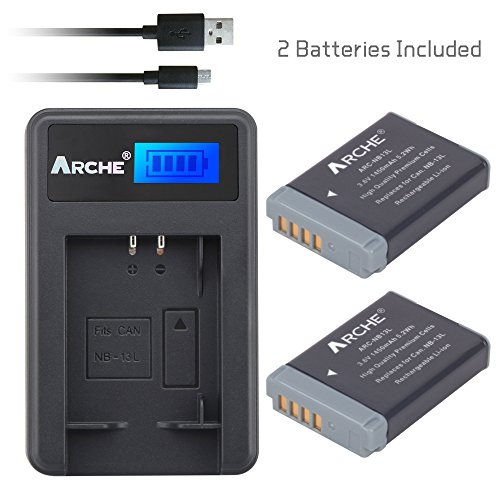 ARCHE NB-13L NB13L CB-2LH <2 Pack> Battery and LCD Single Ch