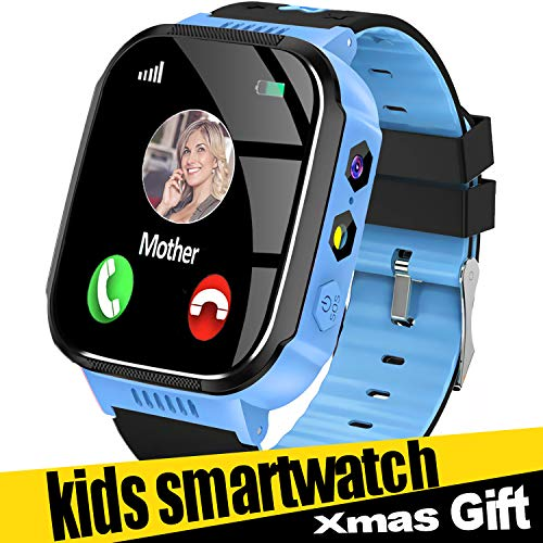 Smart Watch for Kids, Best Gifts for 4-12 Year Old Boys Girls, Kids Smart Watch GPS Tracker Watch with SOS Call Touch Screen Game Alarm for Kids Boys Girls Holiday Birthday Gift (Blue)