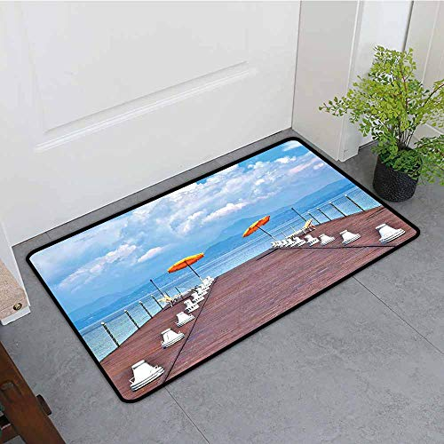Custom Doormat,Seascape Luminous Sunshades and Sun Beds On a Jetty at Lake Seascape Scenic,Easy Clean Rugs,35