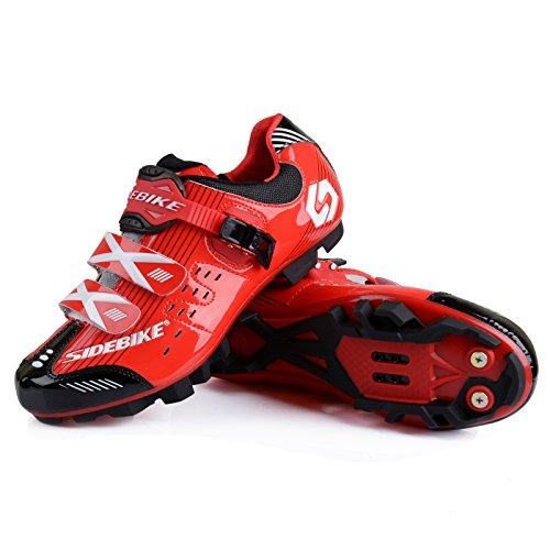 Smartodoors Scarpe Da Ciclismo Con Suole In Carbonio O Suole Nylon Tpu Per Strada E Mtb Rosso / Nero Per Mtb