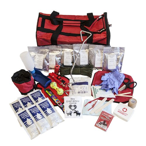 Emergency Zone Deluxe Dog Bug Out Bag with Pet Carrier, Survival and Disaster Kit, Pet Evacuation and First Aid Kit, and Comfort Items