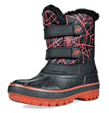 DREAM PAIRS Little Kid DUCKO Black Red Ankle Winter Snow Boots Size 2 M US Little Kid