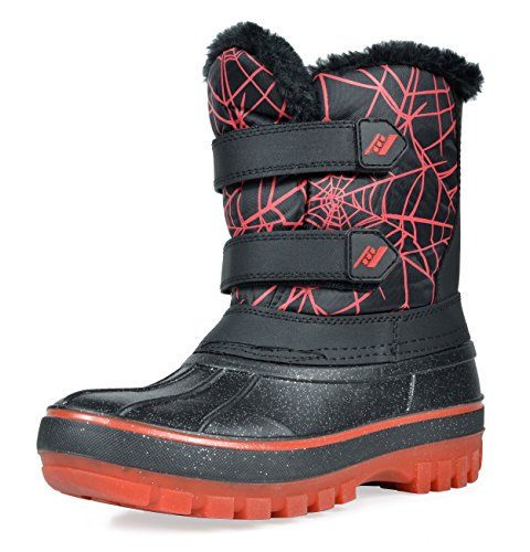 DREAM PAIRS Little Kid Ducko Black Red Ankle Winter Snow Boots Size 11 M US Little Kid