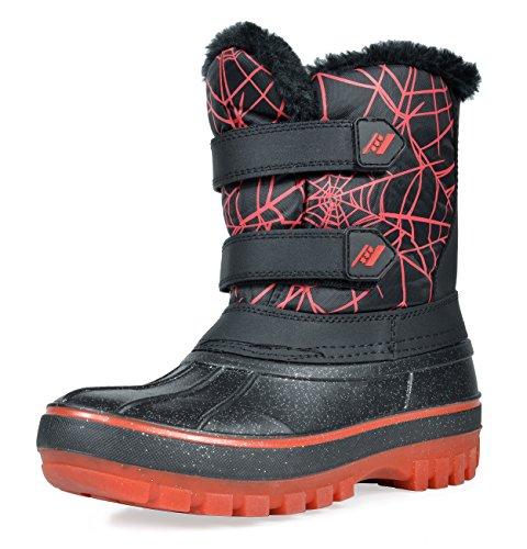 DREAM PAIRS Big Kid DUCKO Black Red Ankle Winter Snow Boots Size 4 M US Big Kid