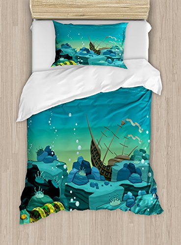 Ambesonne Cartoon Duvet Cover Set Twin Size, Seascape Underwater with Treasure Galleon and Sunk Ship Pirate Kids Theme Print Art, A Decorative 2 Piece Bedding Set with 1 Pillow Sham, Teal and Yellow ()