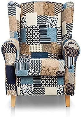 SUENOSZZZ-ESPECIALISTAS DEL DESCANSO Sillón Orejero Butaca Moderna Tapizado Patchwork Color Azul Sillones de Salón, Lactancia, Dormitorio, Lectura