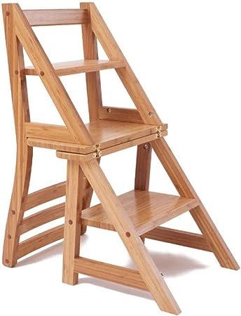 Chair Escalera de Madera sin Pintar Silla de 4 Pasos - Silla Plegable portátil con Respaldo Escalera de Madera Tipo Loft para Uso doméstico, Barniz de Escalada Puesto de Flores KADJ: Amazon.es: