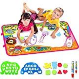 """AiToy Aqua Magic Mat, Water Drawing Mat Extra Large Kids Toys Toddlers Painting Board Writing Mats with 2 Magic Pens and Letter Templates for Boys Girls Gift Size 34.5"""" X 22.5"""" (X-Large)"""