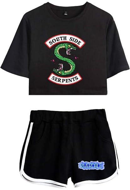 OLIPHEE Kurzarm Rundhals T-Shirt + Kurze Hose Bekleidungssets für Mädchen mit Riverdale Southside Serpents Aufdruck Streetwea