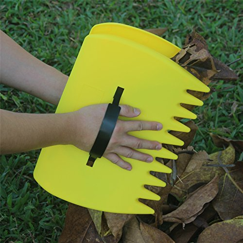 SCHOME Yellow Large Garden and Yard Leaf Scoops,Plastic Scoop Grass,Hand Leaf Rakes (Hand Grass)