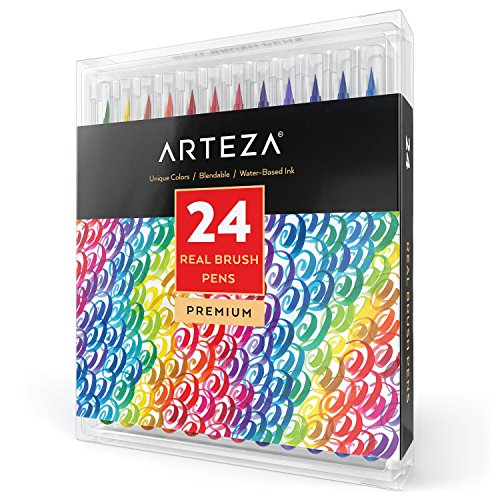 Arteza Real Brush Pens, 24 Paint Markers with Flexible Brush Tips, Professional Watercolor Pens for Painting, Drawing, Coloring & More, 100% Nontoxic, Multiple Colors - Supple Tip