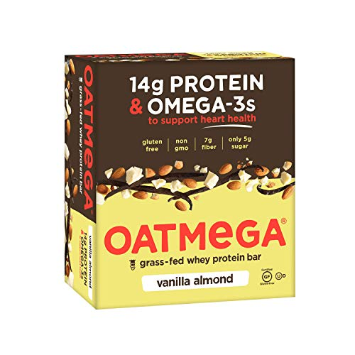 OATMEGA Protein Bar, Vanilla Almond, Energy Bars Made with Omega-3 and Grass-Fed Whey Protein, Healthy Snacks, Gluten Free Protein Bars, Whey Protein Bars, Nutrition Bars, 1.8 ounce (12 Count)