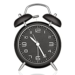 4 Twin Bell Alarm Clock with Stereoscopic Dial,Round,Retro,Backlight, Loud Alarm,Battery Operated Loud Alarm Clock (Black) (Black)
