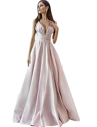 bdde80070b liangjinsmkj Women s Elegant Prom Dresses 2019 Long Spaghetti Straps Satin  Evening Gowns Pockets Baby Pink US2