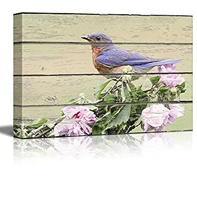 Gorgeous Artisanship, Blue Bird Sitting on a Flower Branch on Vintage Wood Textured Background Rustic Country Style, Made For You
