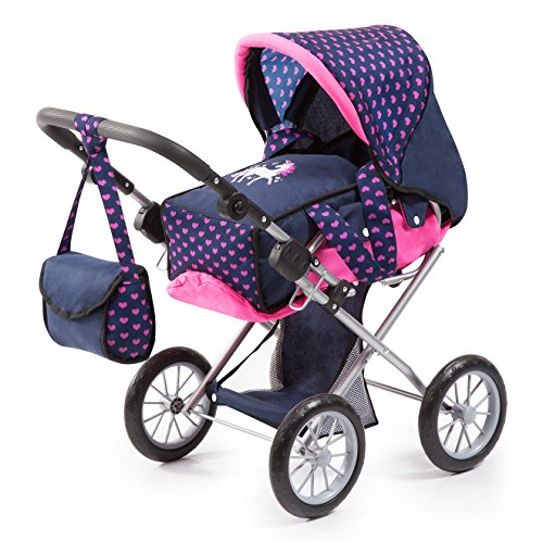 - Bayer Design 13654AA City Star in Modern Unicorn Design, Combi pram, with Removable carrycot and Shoulder Bag, with Adjustable Handle, for Dolls up to 46cm, Blue Pink