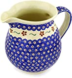 Polish Pottery 56 oz Pitcher (Sweet Red Flower Theme) + Certificate of Authenticity