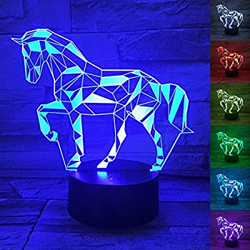 WANTASTE 3D Horse Lamp, Optical Illusion Night Light for Room Decor & Nursery, Cool Birthday Gifts & 7 Color Changing Toys for Kids, Girls, Boys & Horse Lovers
