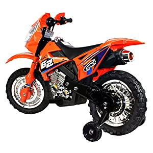 Extreme Rider Dirt Bike Children's Kid's Battery Operated Rechargeable Ride On Motorcycle w/ Removable Training Wheels, Ages 3 - 8 (Orange)
