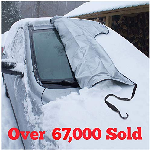 SnowOFF Extra Large Windshield Snow Ice Cover - FIT Any CAR, SUV Truck Van - Windproof Straps, Wings, Suction Cups, Magnets - Bonus Demist Cloth + Blanket - Winter Frost Automotive Hood Covers