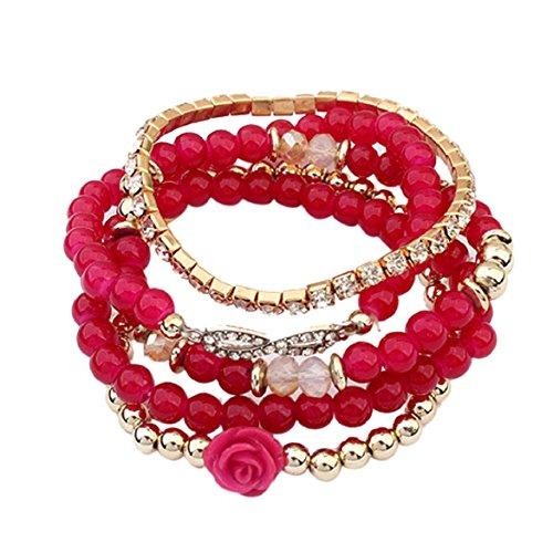 Susenstone Women Multilayer Beads Bangle Bracelets