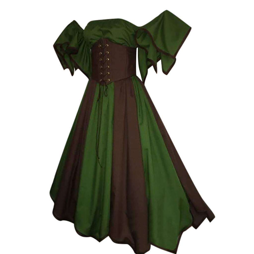 HTDBKDBK Womens Vintage Short Petal Sleeve Slash-Neck Medieval Dress Cosplay Dress Princess Dress Causal Dress
