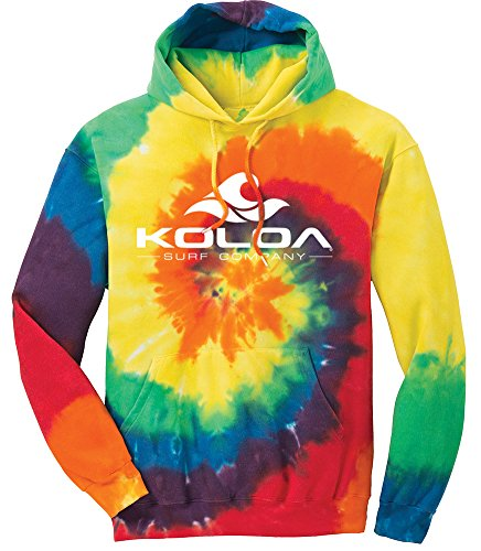 Light Blue Tie Dye - Koloa Surf Wave Logo Hoodies - Hooded Sweatshirt, M-Rainbow Tie-Dye
