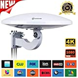 UFO 360° Omni-Directional Reception Outdoor TV Antenna 65 Miles Range with Smartpass Amplified & Built-in 4G LTE Filter for Indoor,Outdoor,RV,Attic Use Support VHF &UHF Digital Signal Grey