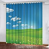 "FashSam Blackout Curtains Set Room Darkening Drapes Cartoon Scenery Clouds Valley Hills Grass Sunbeams Flowers Artprint Image Window Treatment Pair for Bedroom(108""X62"")"