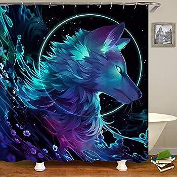 Amazon Com Sara Nell Galaxy Wolf Shower Curtain