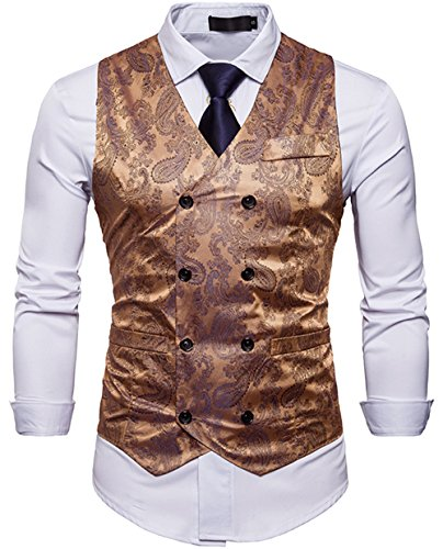 WANNEW Mens Vest Suit Vests Tuxedo Vest Vest for Men(Gold, XL)