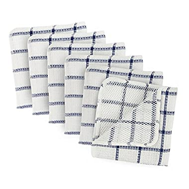 DII Microfiber Scratch Free Scrubber Cleaning Dishcloth, Wash Cloth Perfect for Kitchens, Dishes, Car, Dusting, Drying Rags, 12x12, Set of 6 - Nautical Blue Windowpane