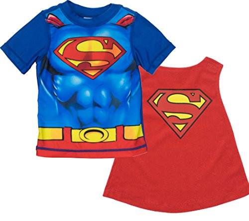 Warner Bros. Superman Little Boys' Swim Rash Guard T-Shirt and Caped Towel Set -
