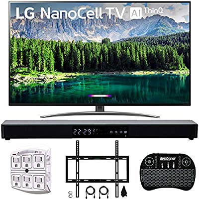 "LG 4K HDR Smart LED NanoCell TV w/AI ThinQ 2019 Model with Home Theater 31"" Soundbar, Wireless Backlit Keyboard, Flat Wall Mount Kit & SurgePro 6-Outlet Surge Adapter"