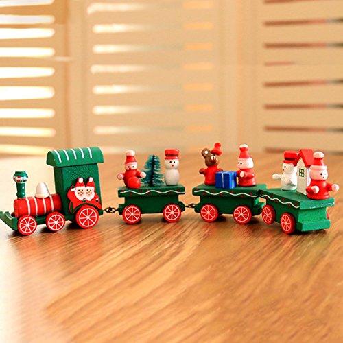Smartcoco Mini Wooden Christmas Train Santa Claus Snowman Decoration Xmas Tree Ornament Kids Gift Toys
